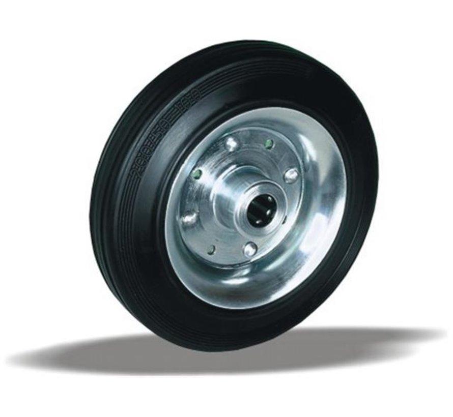 standard transport wheel + black rubber tyre Ø225 x W60mm for  250kg Prod ID: 25637