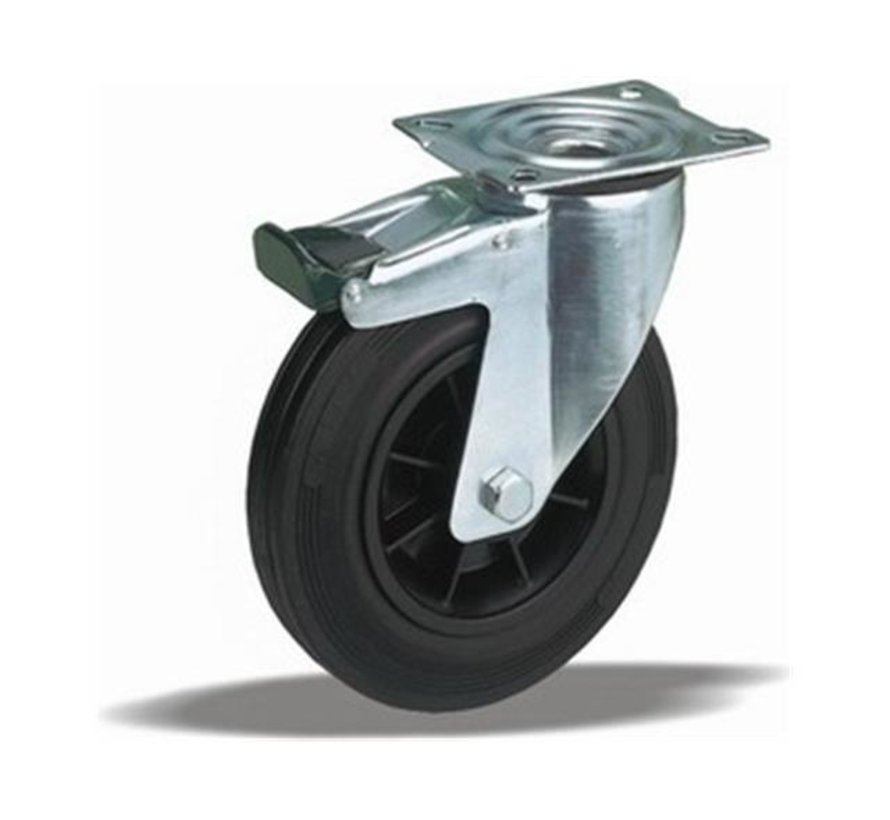 standard Swivel transport castor with brake + black rubber tyre Ø180 x W50mm for  200kg Prod ID: 31224