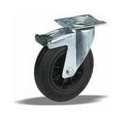 LIV SYSTEMS Swivel transport castor with brake + black rubber tread Ø100 x W32mm for 80kg