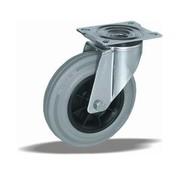 LIV SYSTEMS Swivel castor + grey rubber tread Ø125 x W37mm for 130kg