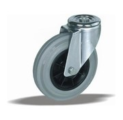 LIV SYSTEMS Swivel castor + grey rubber tread Ø80 x W30mm for 65kg