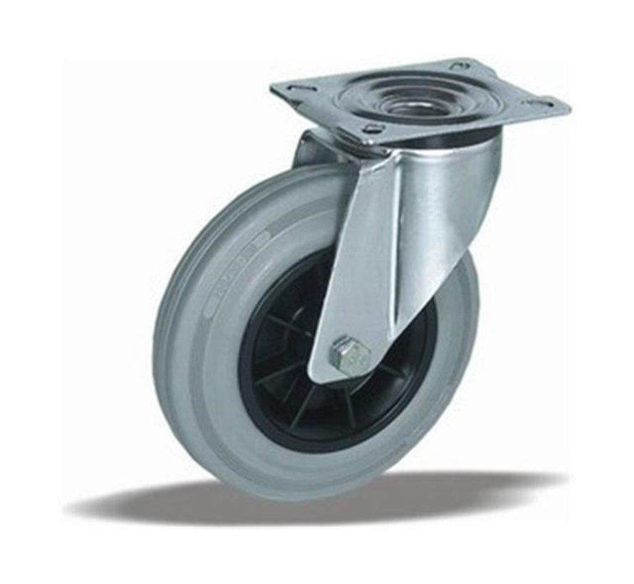 standard Swivel castor + grey rubber tyre Ø125 x W37mm for  130kg Prod ID: 39244