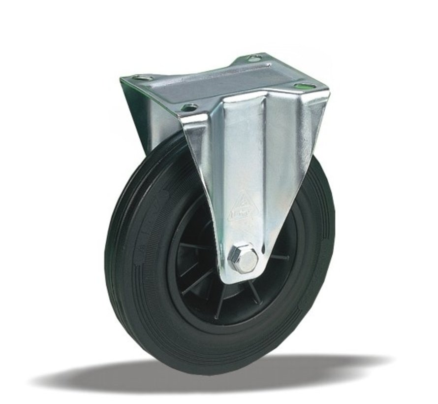 standard fixed transport castor + black rubber tyre Ø160 x W40mm for  180kg Prod ID: 91787
