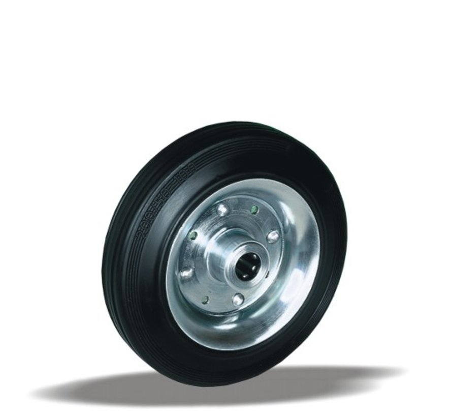 standard transport wheel + black rubber tyre Ø225 x W60mm for  250kg Prod ID: 22997