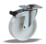 LIV SYSTEMS Swivel castor with brake + solid polypropylene wheel Ø100 x W38mm for 125kg