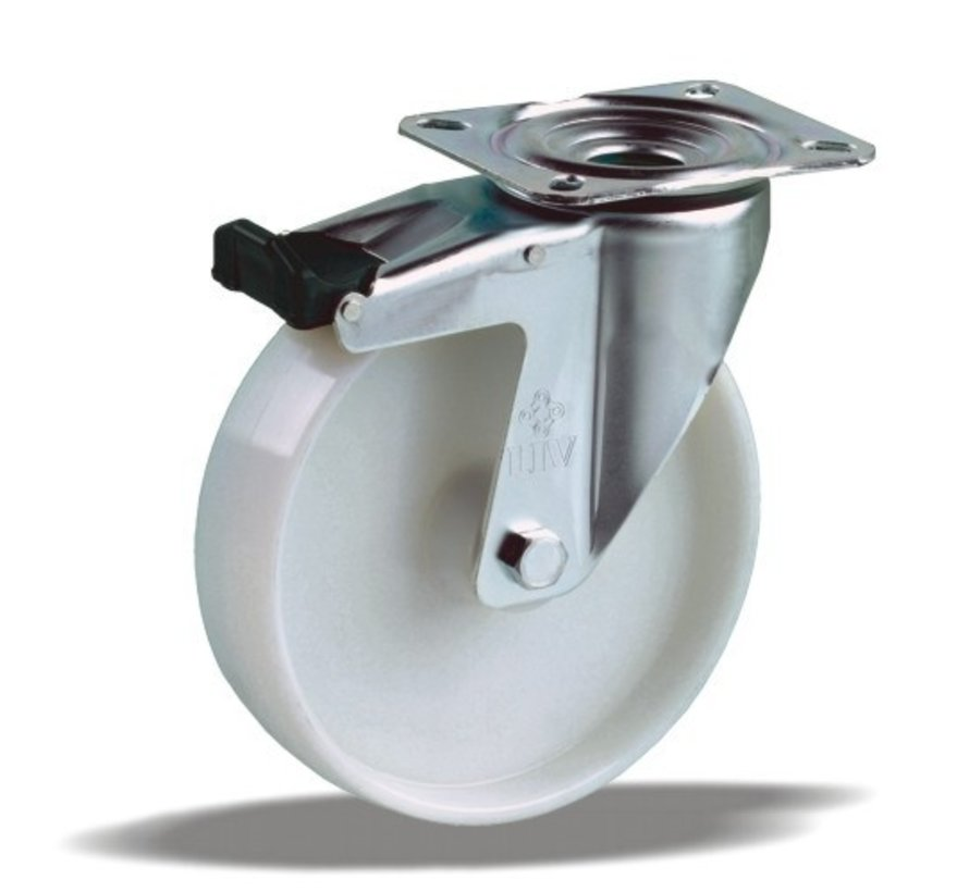 standard Swivel castor with brake + solid polypropylene wheel Ø100 x W38mm for  125kg Prod ID: 42814