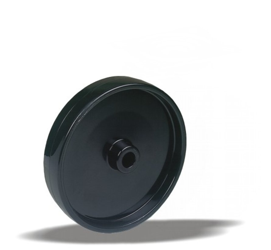 standard wheel + solid polyamide wheel Ø125 x W38mm for  250kg Prod ID: 42774