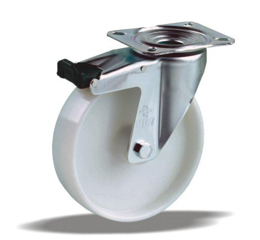 standard Swivel castor with brake + solid polyamide wheel Ø125 x W35mm for  250kg Prod ID: 42834
