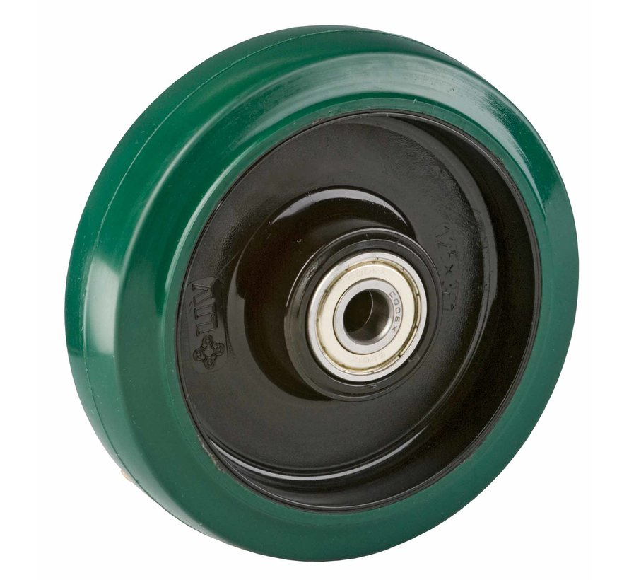 stainless steel wheel + elastic rubber tyre Ø200 x W50mm for  400kg Prod ID: 42304