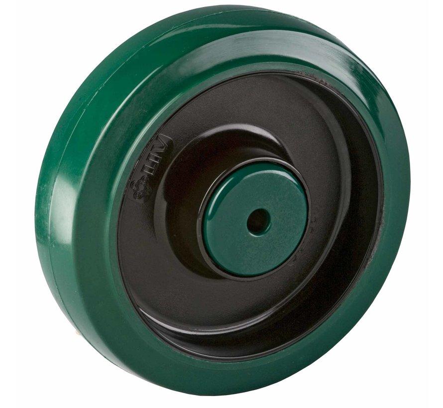 nerjaveče jeklo kolo + elastična gumi obloga  Ø160 x W50mm Za  350kg Prod ID: 42305
