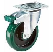 LIV SYSTEMS vrtljivo kolo z zavoro + elastična gumi obloga Ø125 x W35mm Za 150kg