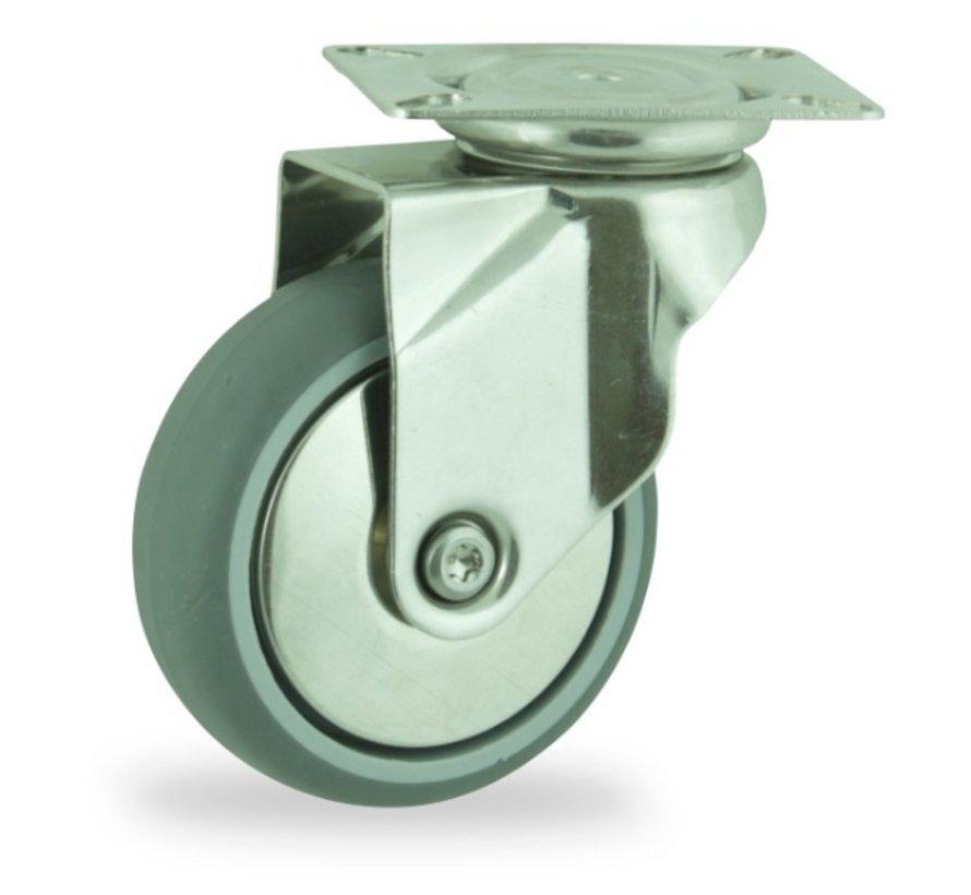institutianal Swivel castor + polyethylene tread Ø75 x W24mm for  60kg Prod ID: 44815