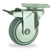 LIV SYSTEMS Swivel castor with brake + polyethylene tread Ø100 x W24mm for 70kg
