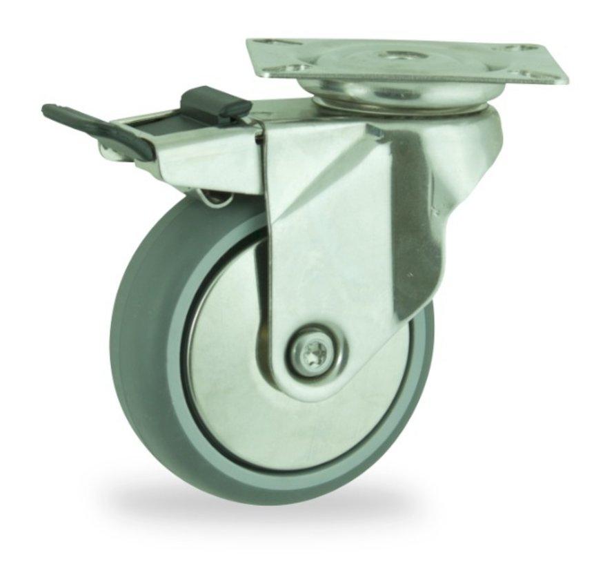 institutianal Swivel castor with brake + polyethylene tread Ø100 x W24mm for  70kg Prod ID: 44821