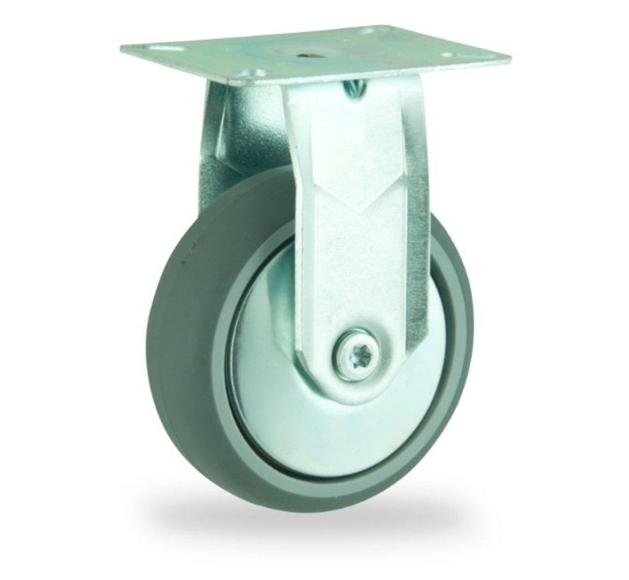 institutianal Fixed  castor + polyethylene tread Ø125 x W32mm for  100kg Prod ID: 44828