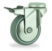 LIV SYSTEMS vrtljivo kolo z zavoro + poliuretanska obloga Ø75 x W24mm Za 60kg