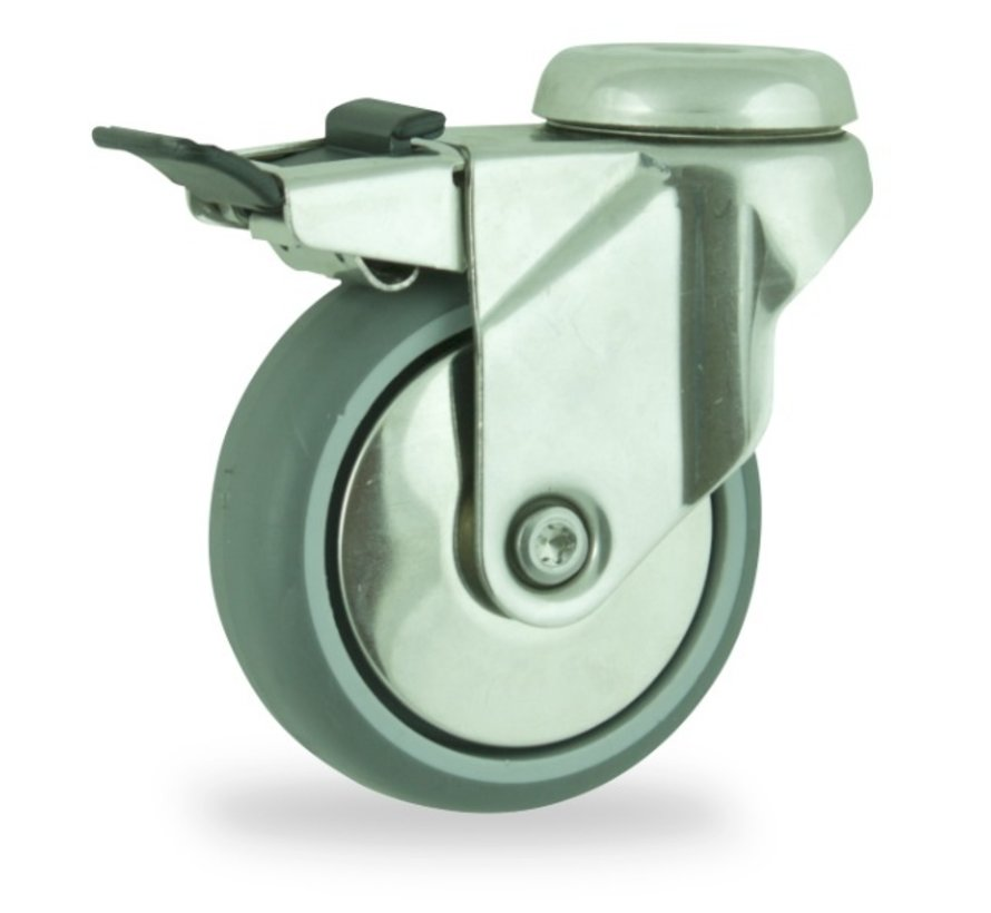 institutianal Swivel castor with brake + polyethylene tread Ø125 x W32mm for  100kg Prod ID: 44838