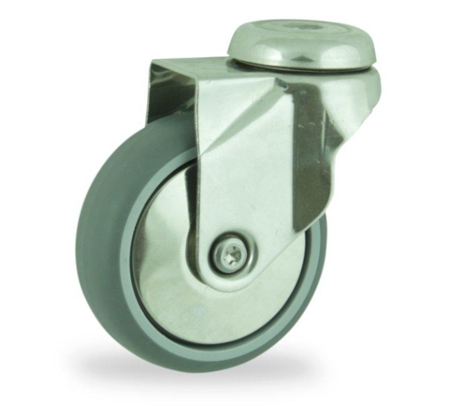 institutianal Swivel castor + polyethylene tread Ø75 x W24mm for  60kg Prod ID: 44830