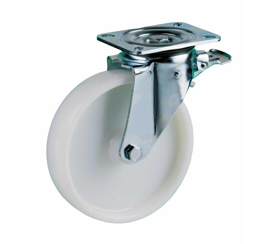 heavy duty Swivel castor with brake + solid polyamide wheel Ø160 x W50mm for  400kg Prod ID: 42555