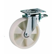 LIV SYSTEMS Swivel castor with brake + solid polyamide wheel Ø200 x W50mm for 500kg