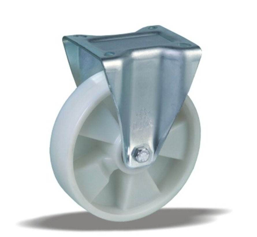 heavy duty Fixed  castor + solid polyamide wheel Ø160 x W50mm for  400kg Prod ID: 31775