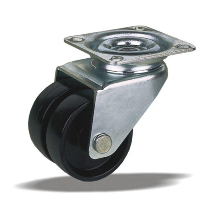 furniture Swivel castor + solid polyamide wheel Ø50 x W17,5mm for  80kg Prod ID: 33663