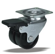 LIV SYSTEMS vrtljivo kolo z zavoro + trdno poliamidno kolo Ø50 x W17,5mm Za 80kg