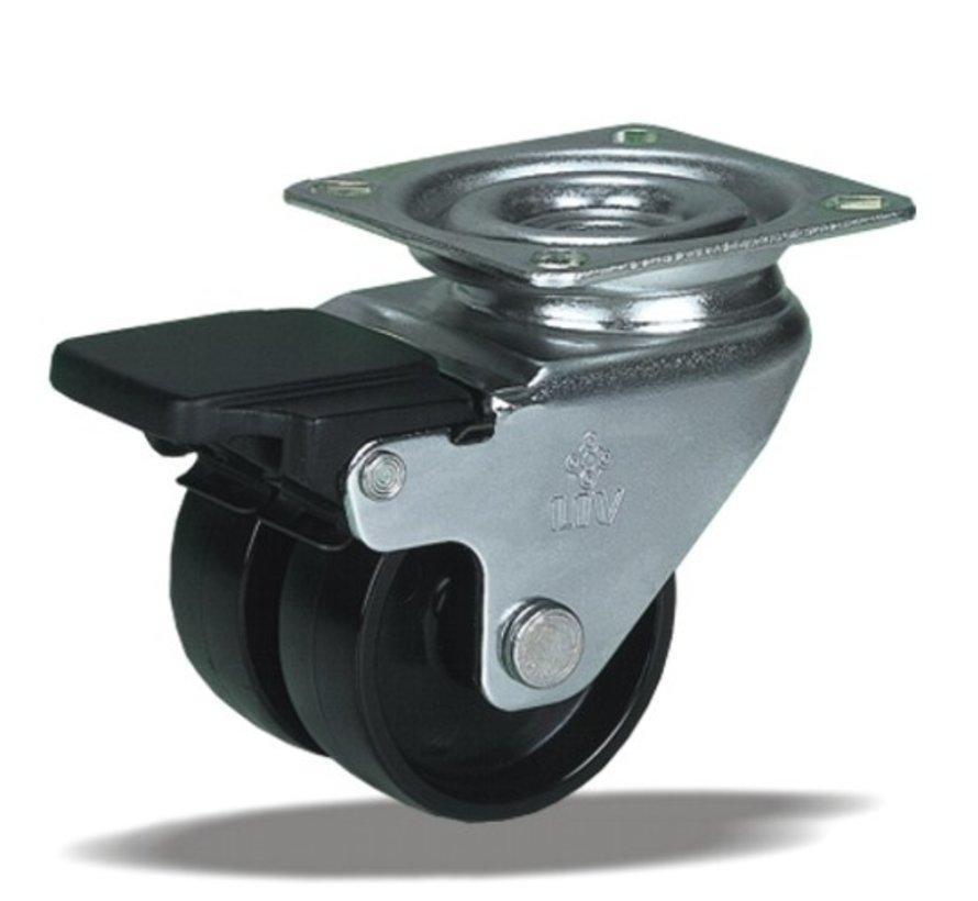 furniture Swivel castor with brake + solid polyamide wheel Ø50 x W17,5mm for  80kg Prod ID: 39314
