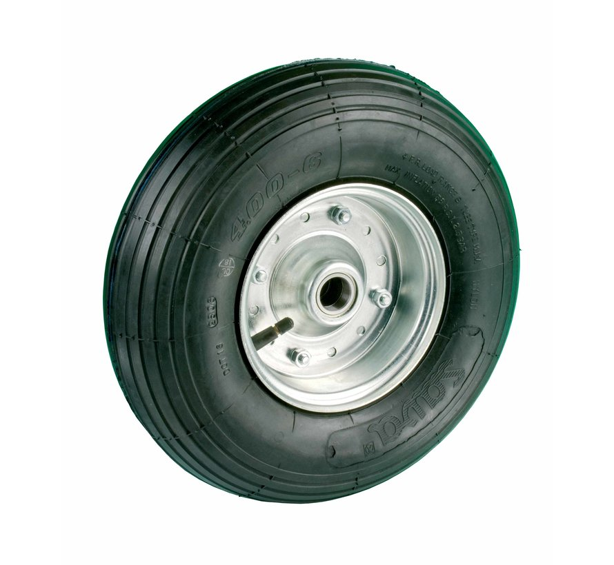 za neravna tla  kolo + črna pnevmatika Ø350 x W100mm Za  150kg Prod ID: 28226