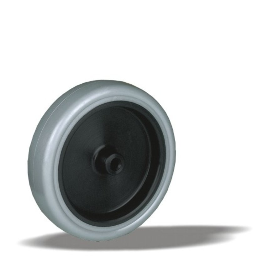 furniture wheel + thermoplastic rubber Ø100 x W25mm for  80kg Prod ID: 33834