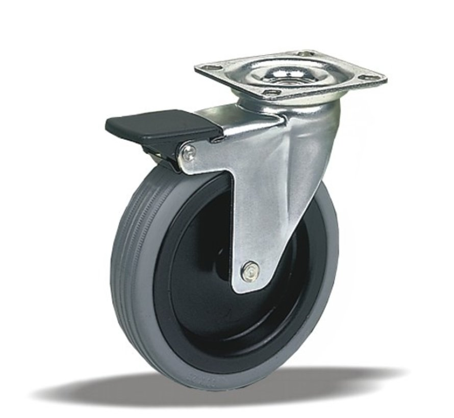 furniture Swivel castor with brake + rubber tyre Ø100 x W25mm for  60kg Prod ID: 39134
