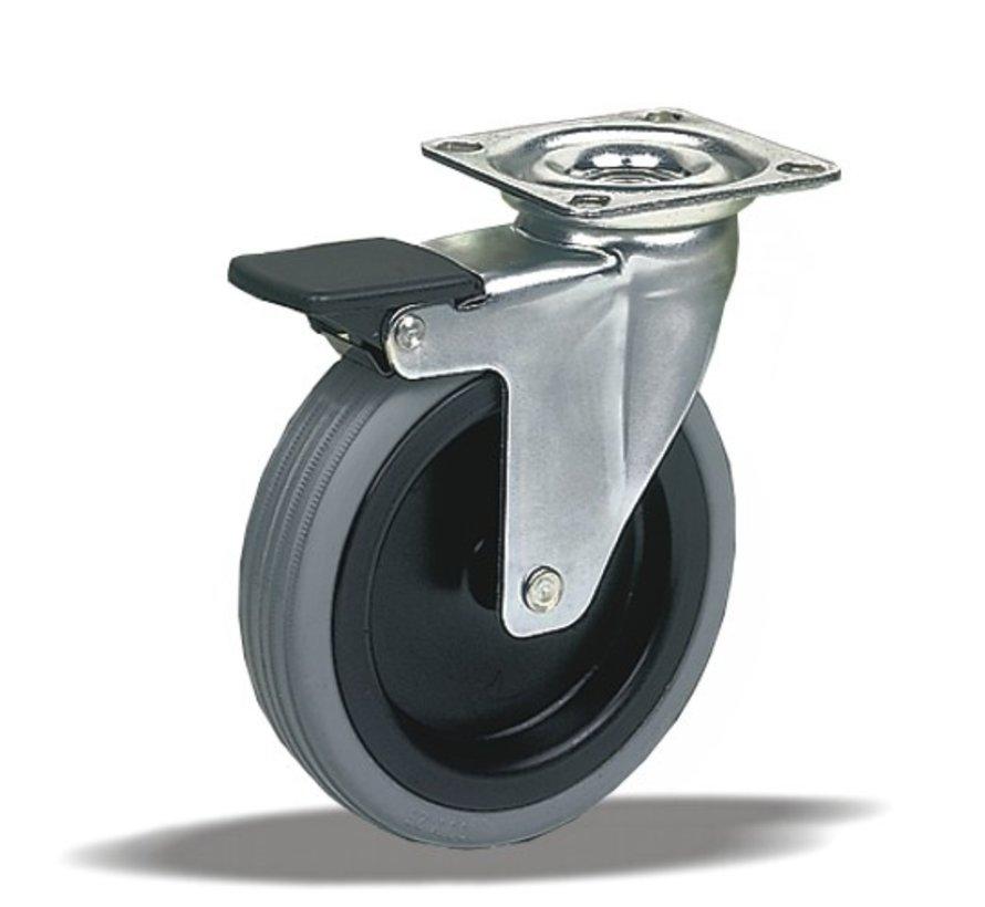 furniture Swivel castor with brake + polyethylene tread Ø75 x W25mm for  75kg Prod ID: 38734