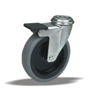 LIV SYSTEMS Swivel castor with brake +  rubber tread Ø75 x W25mm for 50kg