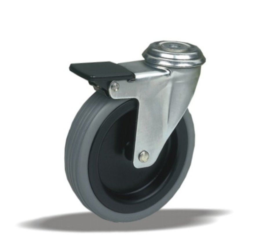 furniture Swivel castor with brake + rubber tyre Ø75 x W25mm for  50kg Prod ID: 39064