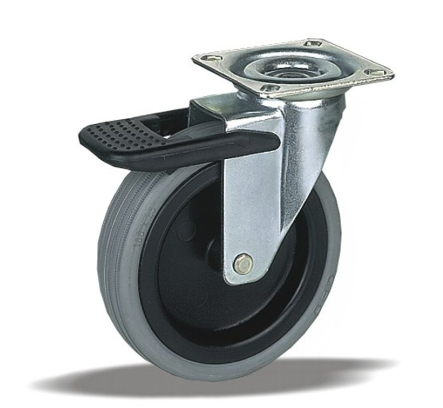 furniture Swivel castor with brake + rubber tyre Ø100 x W25mm for  60kg Prod ID: 32314