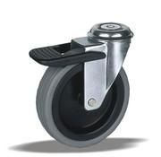 LIV SYSTEMS vrtljivo kolo z zavoro + poliuretanska obloga Ø75 x W25mm Za 75kg
