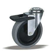 LIV SYSTEMS Swivel castor with brake + polyethylene tread Ø100 x W25mm for 80kg