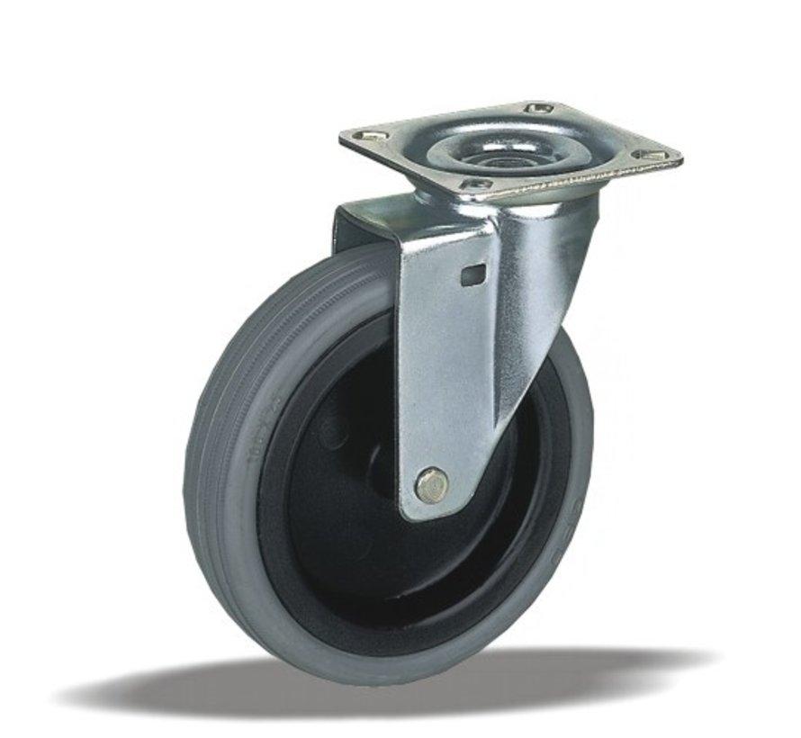 furniture Swivel castor + rubber tyre Ø75 x W25mm for  50kg Prod ID: 91866