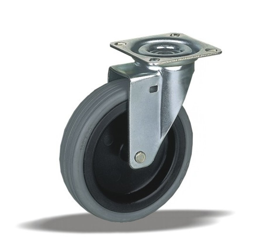 furniture Swivel castor + thermoplastic rubber Ø75 x W25mm for  75kg Prod ID: 33475