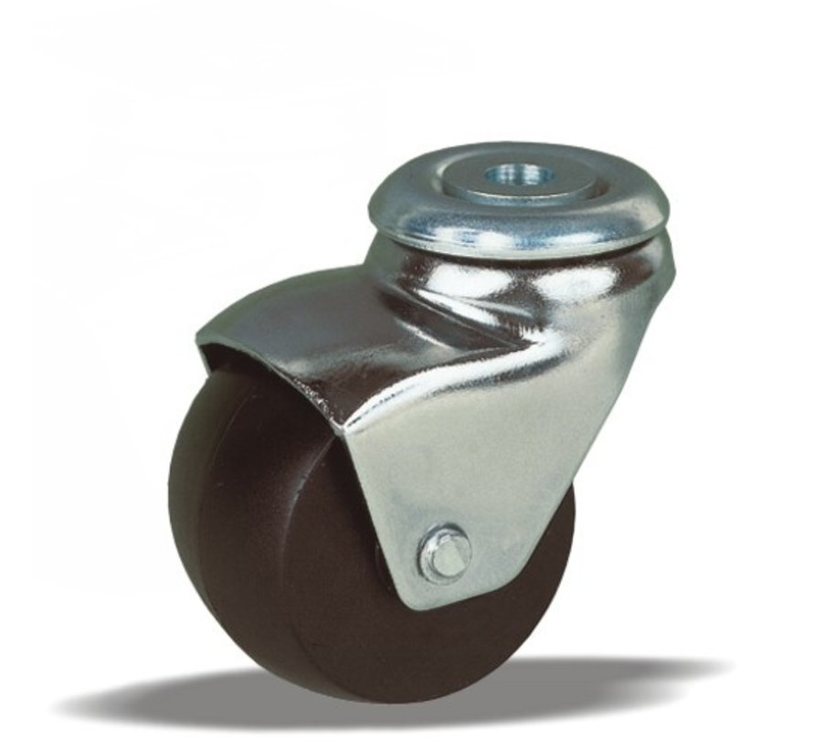 furniture Swivel castor + solid polypropylene wheel Ø45 x W29mm for  50kg Prod ID: 25310