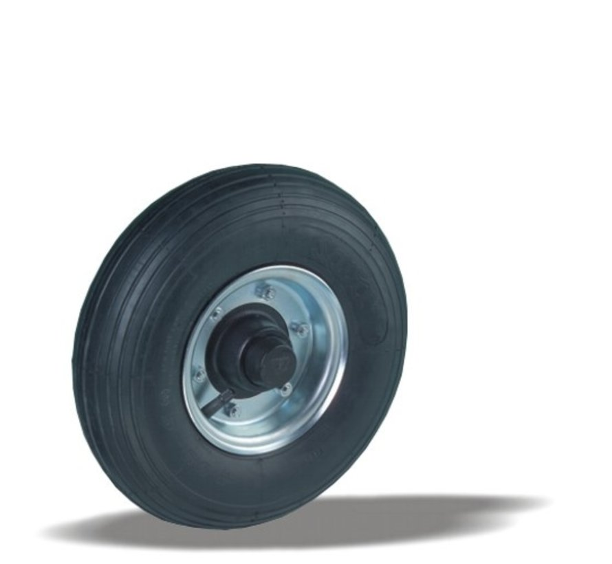 for rough floors wheel + black rubber tyre Ø350 x W100mm for  300kg Prod ID: 22899