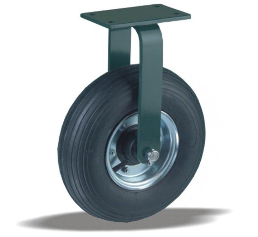 for rough floors Fixed  castor + black rubber tyre Ø350 x W100mm for  300kg Prod ID: 22827