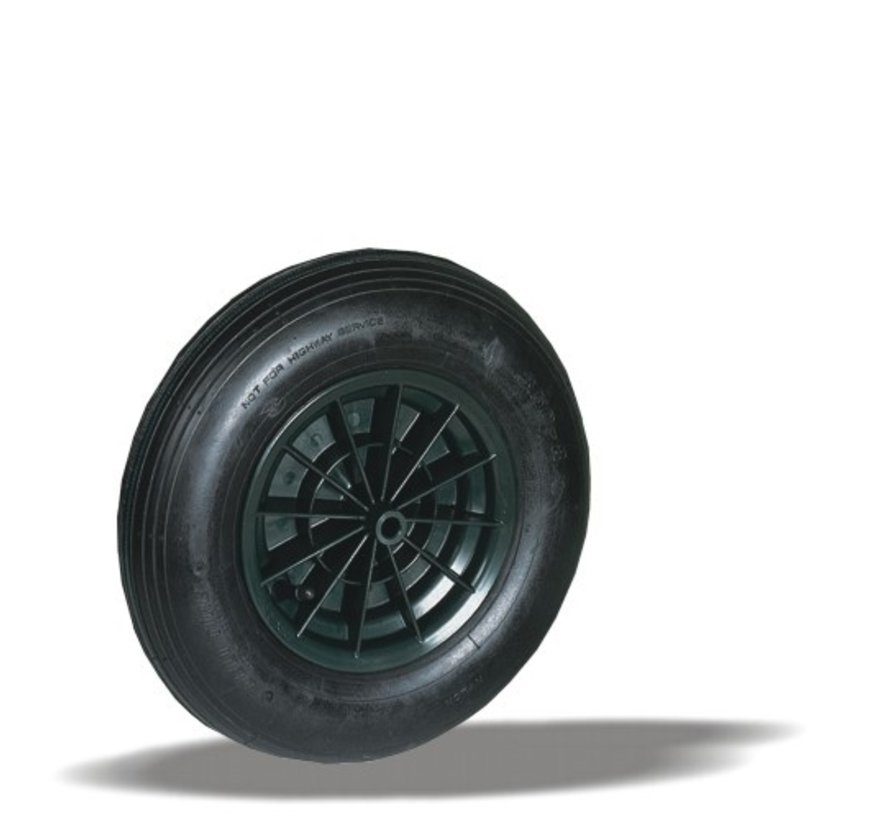 for rough floors wheel + black pneumatic  Ø400 x W100mm for  150kg Prod ID: 92007