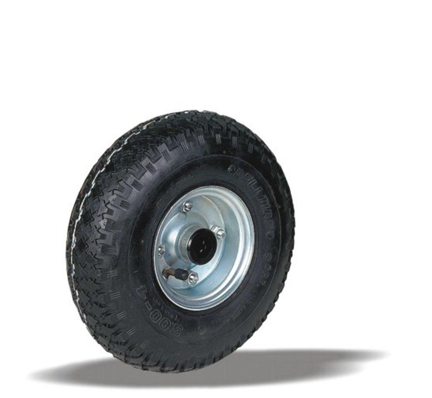 for rough floors wheel + black pneumatic  Ø220 x W65mm for  200kg Prod ID: 31864