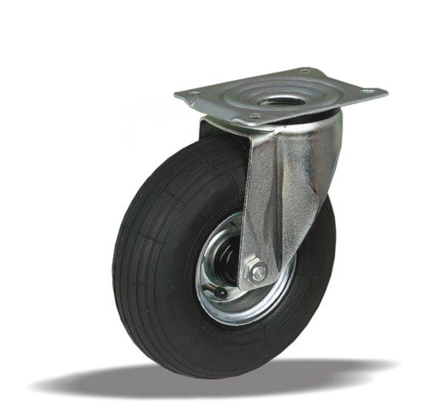 za neravna tla  vrtljivo kolo  + črna pnevmatika Ø220 x W65mm Za  200kg Prod ID: 31865
