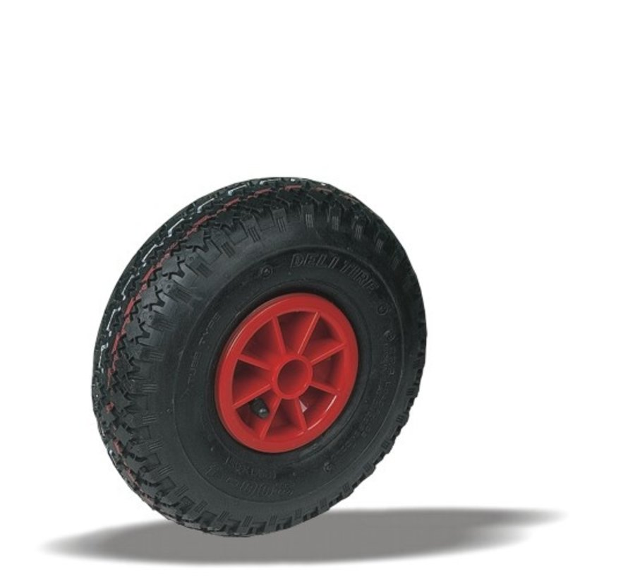 for rough floors wheel + black pneumatic  Ø220 x W65mm for  150kg Prod ID: 91070