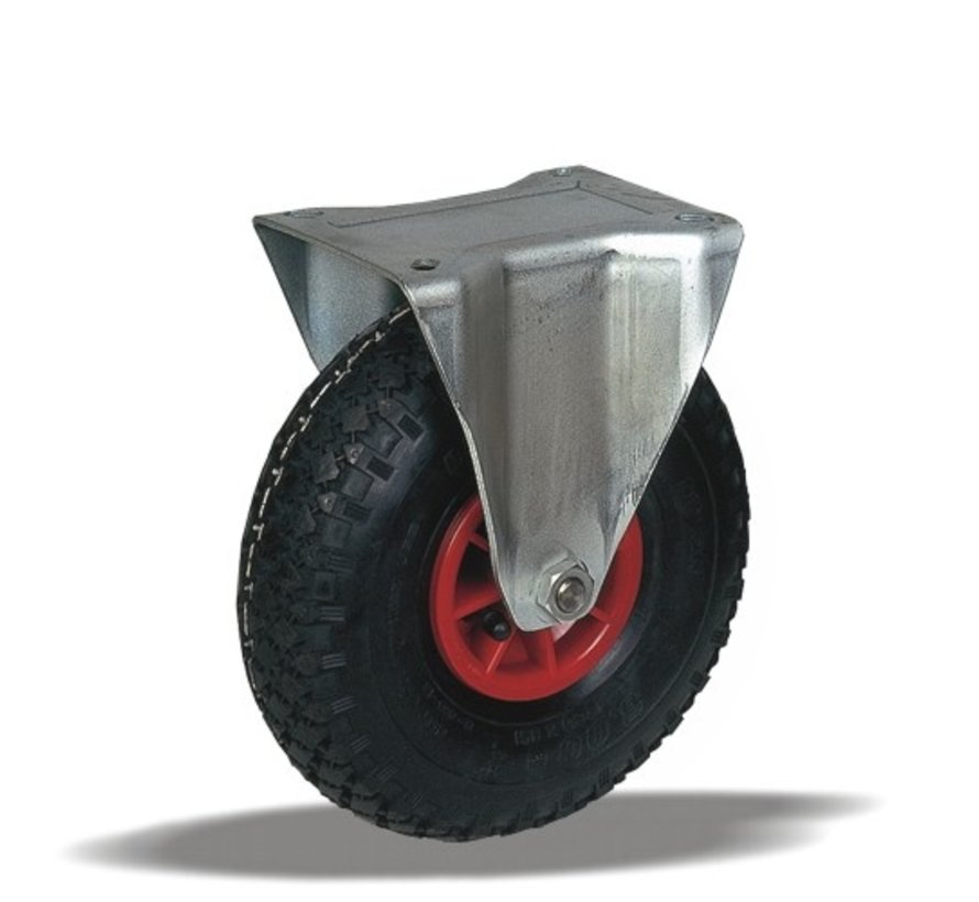 za neravna tla  fiksno kolo + črna pnevmatika Ø260 x W85mm Za  150kg Prod ID: 91125