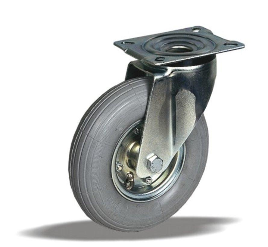 za neravna tla  vrtljivo kolo  + siva pnevmatika Ø200 x W50mm Za  75kg Prod ID: 62098