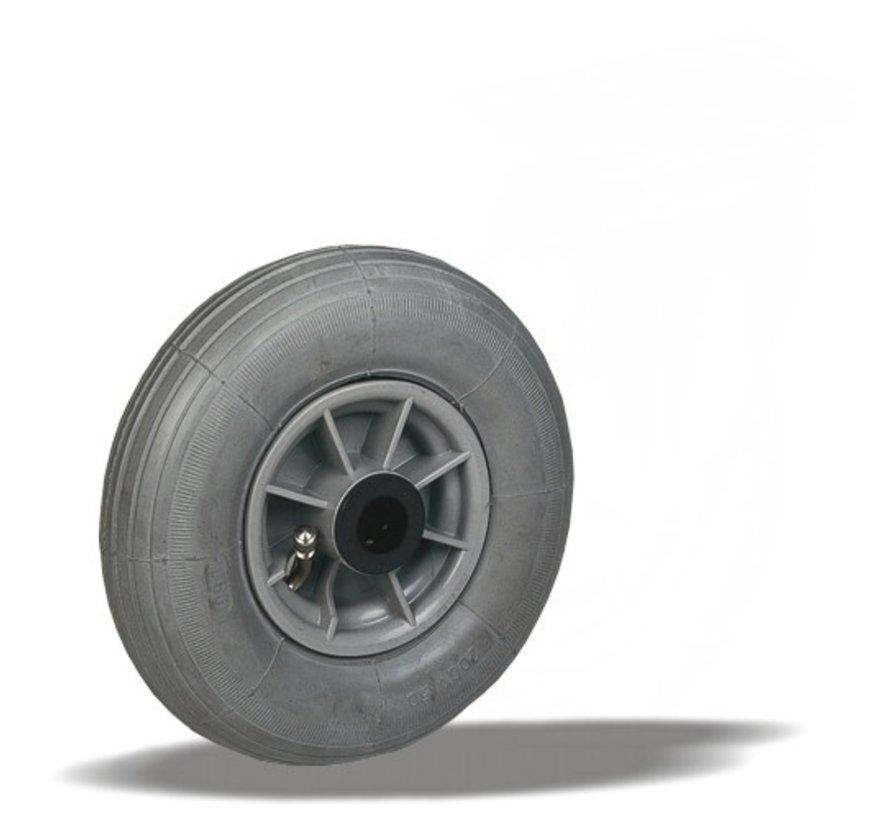 for rough floors wheel + grey pneumatic  Ø200 x W50mm for  60kg Prod ID: 64097