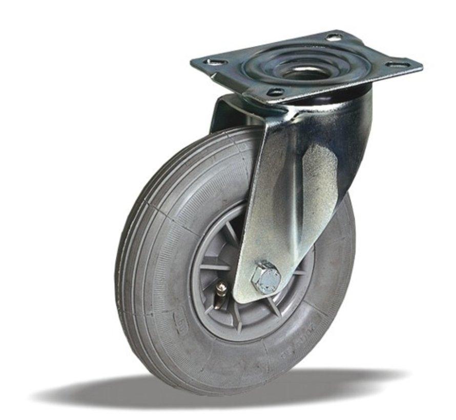 za neravna tla  vrtljivo kolo  + siva pnevmatika Ø200 x W50mm Za  60kg Prod ID: 32664